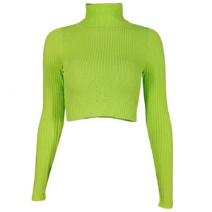 Women Long Sleeve Turtleneck Sweater Ribbed Knit Neon Green Bodycon Crop Top X7XC