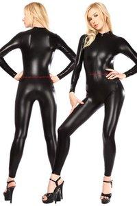 Black Shiny Lycra Metallic Catsuit Costume Unisex Outfit Sexy Women Men Body Suit Costumes No Head Hand Foot Halloween Party Fancy Dress Cosplay Bodysuit P523