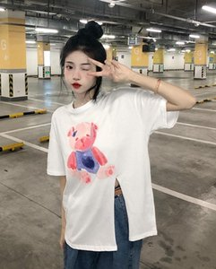 Women's T-Shirt YTX1110 2021 Loose Lazy Style Cartoon Print Age-reducing Irregular Short-sleeved