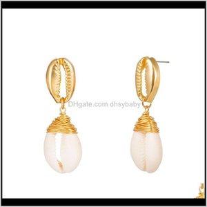 Charme Drop Lieferung 2021 Natürliche Geometrie Farbe Muschel Perle Ohrring Luxus Designer Frauen Herren Ohrringe Schmuck Ohrstecker NE1138 KKQV8