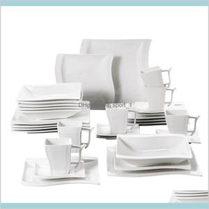 Dinkware Ensings Cuisine, Bar à manger Home Jardin Malacasa Flora 30 pièces Porcelaine Blanche Porcelaine Dîner Ensemble avec 6 * Tasses, Soucoupes, Des