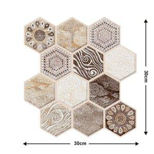 30 * 30 cm Papel pintado 3D DIY Ladrillo Piedra Auto adhesivo Impermeable Papel de pared Cocina Cuarto de baño Sala de estar Pegatinas de azulejos Renovación 633 S2