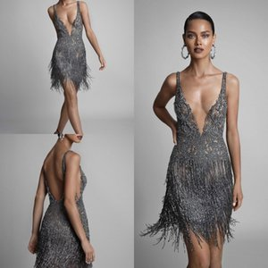 Berta 2019 Sexy Cocktail Dresses Tassel Short Spaghetti V Neck Backless Beaded Prom Gowns Illusion Luxury Formal Evening Dress