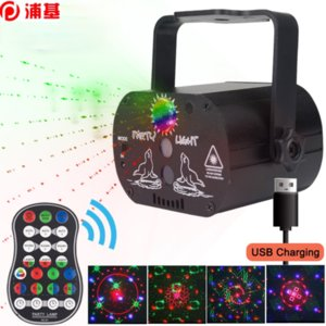 Mini RGB Disco Light USB Wiederaufladbare rot blau grüne Lampe DJ LED Laser Bühne Projektor Hochzeit Geburtstag Partei Lampe Lampen