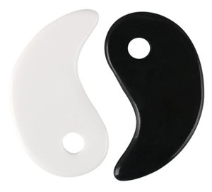 Blanco Negro Gua Sha Masaje Real Natural Jade Stone Tai Ji Forma para raspar Facial y Cuerpo SpA Spa Levantamiento Circulación de sangre GWE5767