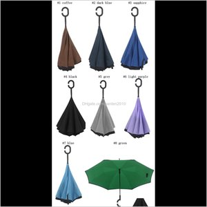 Household Sundries Home & Garden Drop Delivery 2021 Creative Inverted Umbrellas Double Layer With C Handle Inside Out Reverse Windproof Umbre