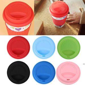 Multicolor Silicone Cup Lids 9cm Anti Dust Spill Proof Food Grade Soft Mug Lid Coffee Milk Tea Cups Cover Seal Lids CCA7680
