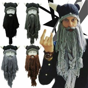 Funny Crazy Halloween Cosplay Men Knit Viking Beard Horn Hat Ski Mask Cap Barbarian Vagabond Cool Beanie Winter Warm Unisex