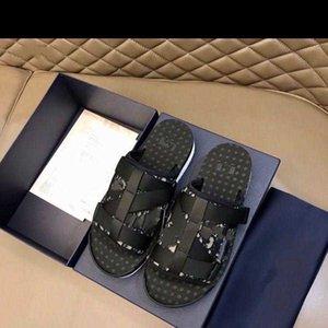 Yeni Erkekler Siyah Alfa Sandal Oblique Jakarlı Yaz Erkekler Terlik Naylon Bantlar KUTUSU BOYUTU 7-12