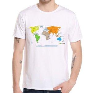 Son Model erkek Özel Dünya Dünya Baskı T Gömlek Casual Streetwear Erkek Tops Tee Yaratıcı Global Harita T-shirt