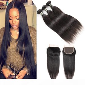 Peruvian Straight Human Remy Virgin Bundles with Closures 3 4 Bundles with Middle or Free Part Weaves Closure Body Wave Wholesale Cheapest