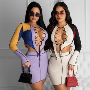 Tracksuits Patchwork Stripe Women 2 Piece Set Long Sleeve Hollow Out T Shirt Cross Lace Up Bandage Mini Skirt Streetwear Club