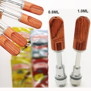 Dabwoods Vape Pen Atomizers Cartridges 1ml 0.8ml Glass Tanks Wood Tip Ceramic Cell Coil Empty Vaporizer Pens Thick Oil Cartridge 510 thread Carts E-Cigarette