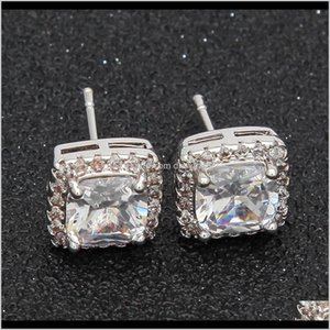 Stick Drop Delivery 2021 Luxury Designer Earrings Hip Hop Jewelry Mens Iced Out Earings Bling Diamond Stud Earring Rapper Hiphop Men Charms F