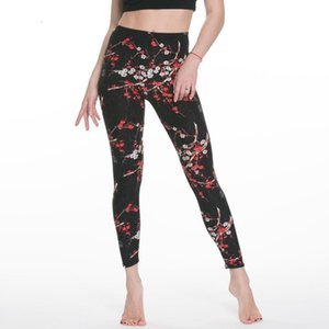 Ladies Women Rose Flower Printed Leggings Fashion Slim High Elastic Cotton Pants Multiple ColorsTrousers In