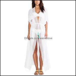 Er-Ups Swimming Equipment Sports & Outdoorser-Ups White Swimsuit Ers Beach Er Up Robe Ete Femme Lace Cotton Summer Sold Elgent Maxi Dress Be