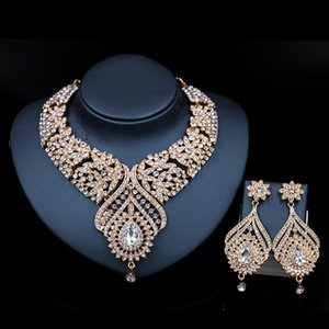 Stained Glass Rhinestone Bride Earrings Necklace Set Fashion Charm Jewelry Color Holding Electroplated Alloy Wave Chain
