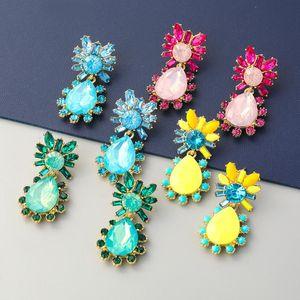 Dangle & Chandelier Pauli Manfi Fashion Metal Water Drop Acrylic Flower Earrings Women's Creative Party Accessories