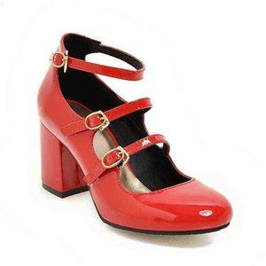 Büyük Boy Bahar Kadınlar Kalın Blok Yüksek Topuk Patent Pompaları Deri Yuvarlak Ayak Sonbahar Ofis Elbise Parti Gelin Kırmızı Bayan Ayakkabı 34-43 210610 N3KF