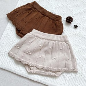 Shorts Autumn Winter Baby Girls Knitted Skirt Solid Color Korean Style Toddlers Kids Princess Infants Clothes