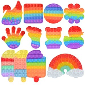 New Rainbow Push It Bubble AntiStress Игрушка Взрослый Детский Антистрессовый Мягкие Сенсорные Подарки Многоразовые Сжатие Игрушки Стресс Редиверные Настольные игры