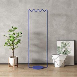 Floor coat hanger hanging Bedroom Furniture Simple modern clothes rack with blue decoration