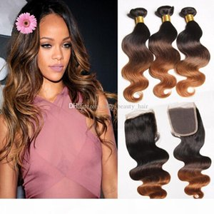Ombre Brazilian Virgin Hair With Closure 4Pcs Lot Three Tone 1B 4 30 Brown Ombre Body Wave Human Hair With 4x4 Lace Closure