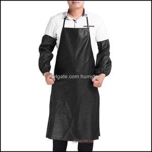 Textiles Home & Garden Mens Womens Convenient Waterproof Men Stain-Resistant Leather Aprons Kitchen Dishwashing Bbq Bib Drop Delivery 2021 K