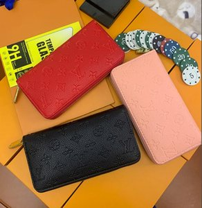 1-22 Wholesale red and pink fashion single zipper Wallets pocke men women leather lady ladies long with orange boxLVLOUIShandbagVITTON
