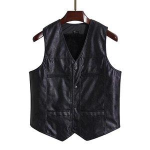 Men's Vests Autumn Winter Men Black PU Leather Vest Thicken Velvet Lining Design Waistcoat Male V-Neck Herringbone Gilet Sleeveless Jacketa