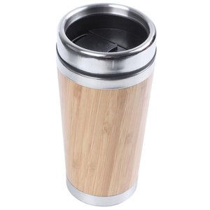 Bamboo Coffee Cup Stainless Steel Travel Mug With Leak-Proof Cover Insulated Accompanying Reusable Mugs