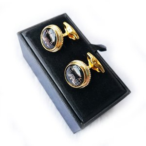 PURE PEARL AR shirt luxury cuff Links Round Black White ratent Eagle Spreading Wings men's business dress classic button Gentleman's gift Cufflinks Box Optional