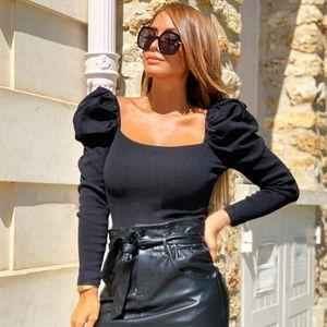 Retro Women Puff Sleeve Square Collar Blouse Shirt Solid Slim Elegant Blouses Tops Female Crop Shirts Spring Autumn Clothes Women's &