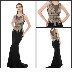 Formal Mermaid Evening Dresses Gold Lace Embroidery Applique Graduation Gowns with Crystal Beaded Women Long Prom Party Dress Sheer Neck