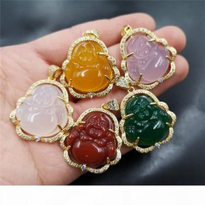 Wholesale high quality S925 silver plated Maitreya agate inlay colorful jade buddha pendant necklace for women