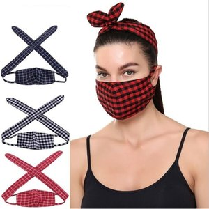 Buffalo Plaid Masks Headband 3D Printed Check Face Masks Hairband Women Winter Warm Dust Respirator Headband Mouth Cover Hairwrap Gift B7700