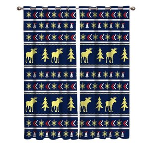 Curtain & Drapes Dark Blue Christmas Pattern Elk Home Decor Window Curtains Bedroom Kitchen Panel For Living Room