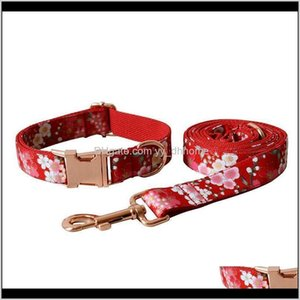 Collars Leashes Floral Girl Dog And Leash Set Personalized Customized Adjustable Bowknot Flower Pet Collar With Rose Gold Metal Buckle Cmtb1