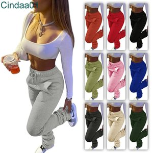 Women Leggings Designer Thickened Sweater Fabric Sports Casual Drawstring Stacked Pants With Pocket Solid Colour Trousers 10 Colours