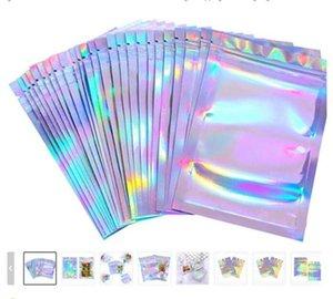 100 Parça Sıfırlanabilir Koku Geçirmez Çanta Folyo Kılıfı Çanta Düz Lazer Renk Paketleme Çanta Parti Favor Yiyecek Depolama Holografik Renk SGHSDFG