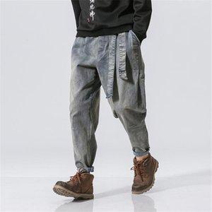 الهيب هوب رجل مصمم جينز الأزياء خمر غسلها السراويل فضفاضة المراهقين الشارع الشارع الشهير مرونة الخصر الشريط السراويل