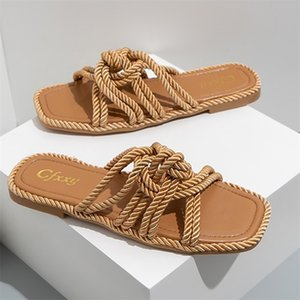 Women Slippers Personality Hemp Rope Upper Design Flat Sandals Casual Solid Color Square Toe Hollow Heel Woman Shoes 210622