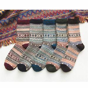 Men's Socks Winter Retro Ethnic Style Men Sock Warm Wool Cross-Border Middle Tube Gift For Female Knitted Thick Hose Wholesale
