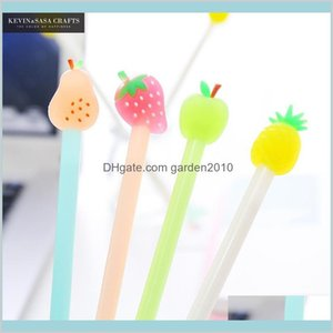 Gel Pens Writing Supplies Office & School Business Industrial 4Pcs Fruit Pen Cute Stationary Kawaii Ink Suppliers Gift Drop Delivery 2