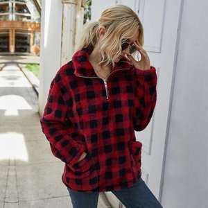 Teddy Cashmere Plaid Fleece Jacket Women 2021 New Casual Pocket Thick Warm Camouflage Winter Pullover Jacket Coat Streetwear