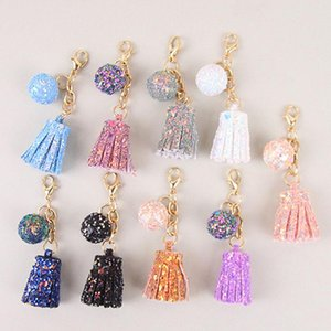 Tassel round Key Chain Pendant Gifts For Women Accessories Candy Color Gold Sequins Keychain 9 colors