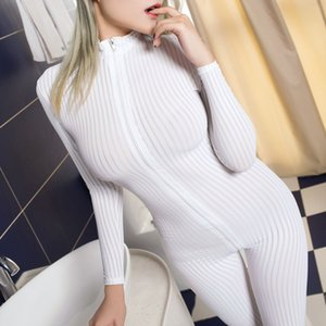 Women Lingerie Crotchless Bodysuit Long Sleeve Zipper Jumpsuit Nightwear Catsuit