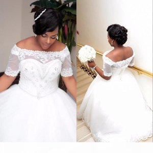 African Plus Size White Ivory Ball Gown Wedding Dresses with Short Sleeves Lace-up Boat Neck Beaded Crystals Wedding Gowns