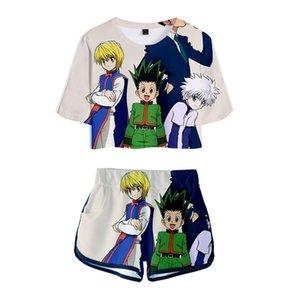 Anime HXH Hunter X Hunter 3D Print Tracksuit Women Two Piece Set Top and Shorts Gon and Killua Kurapika Hisoka Cosplay Costume