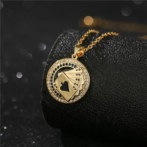 Lucky Flush Poker Pendant Necklace For Women Men Gold Chain CZ Mens Good Luck Party Jewelry Necklaces